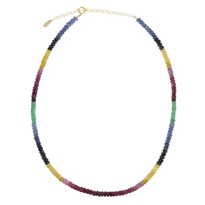 Ruby, Emerald & Sapphire Faceted Color Block Breaded Necklace