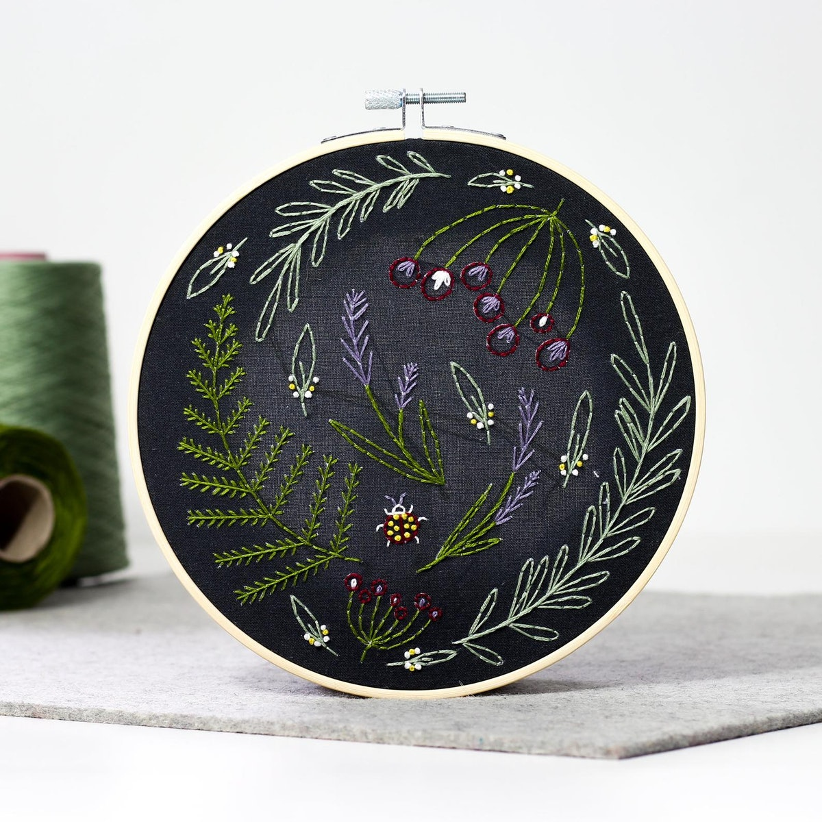 Black Wildwood Embroidery Kit