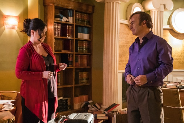 Tina Parker as Francesca and Bob Odenkirk as Jimmy McGill in Better Call Saul