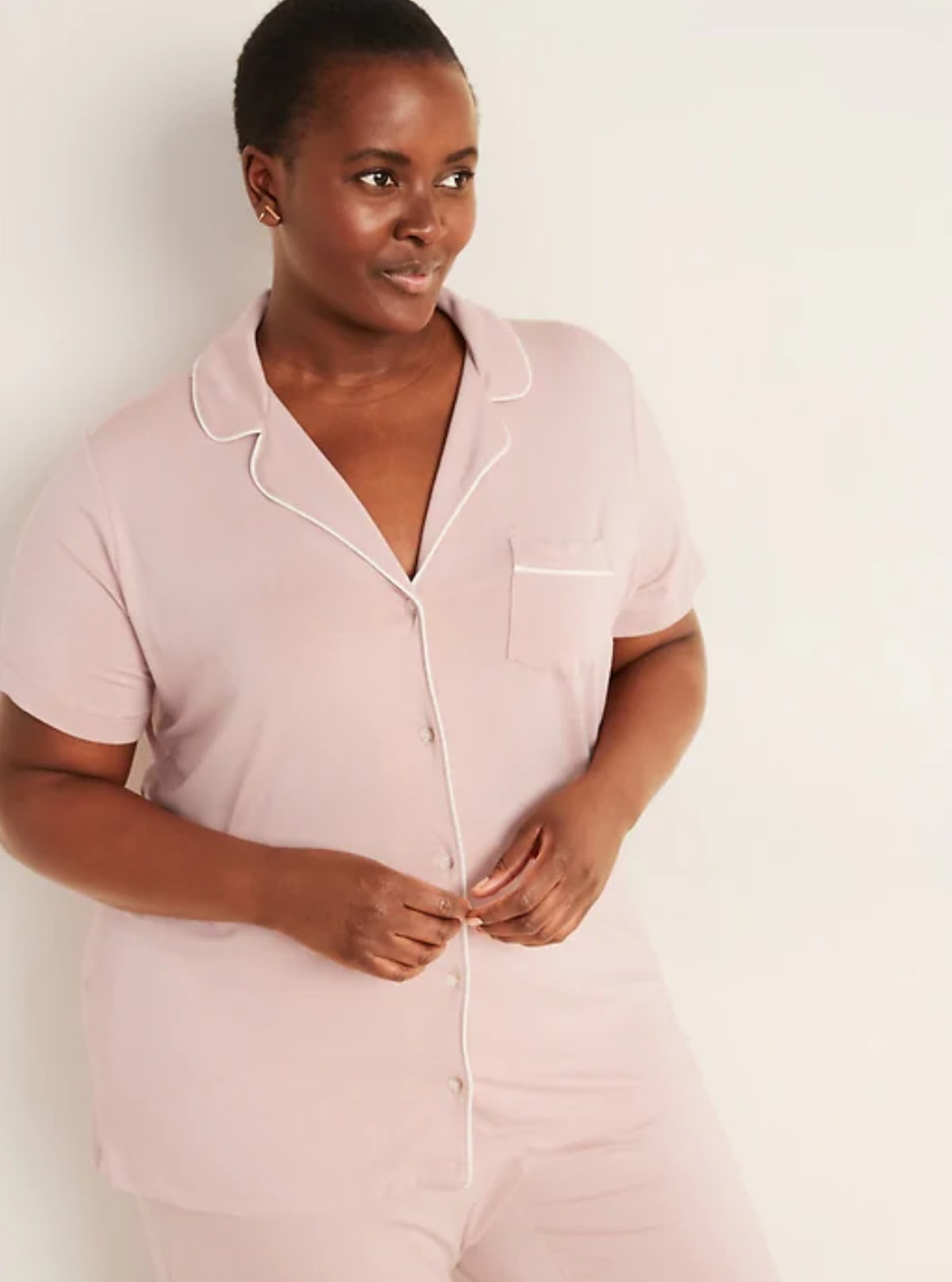 Old Navy Jersey Button-Front Plus-Size Pajama Top