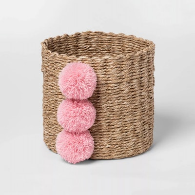 Cloud Island Small Paper Rope Decorative Basket Pink