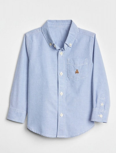 Toddler Oxford Button-Down Shirt in Blue Opal