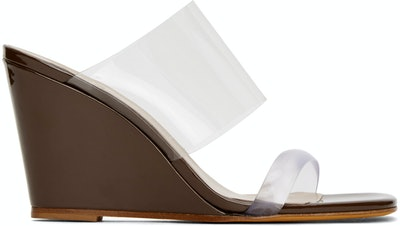 Brown Patent Olympia Sandals