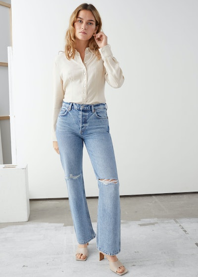 Straight Mid Rise Distressed Jeans