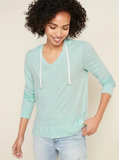 Old Navy Relaxed Lightweight Slub-Knit Pullover Tee Hoodie for Women