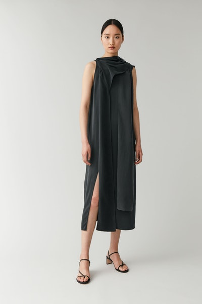 Draped Neck-Tie Dress