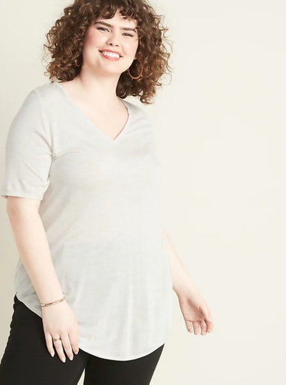 Old Navy Luxe Metallic-Knit Plus-Size V-Neck Tunic Tee