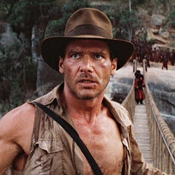 Harrison Ford as Indiana Jones in The Temple of Doom.