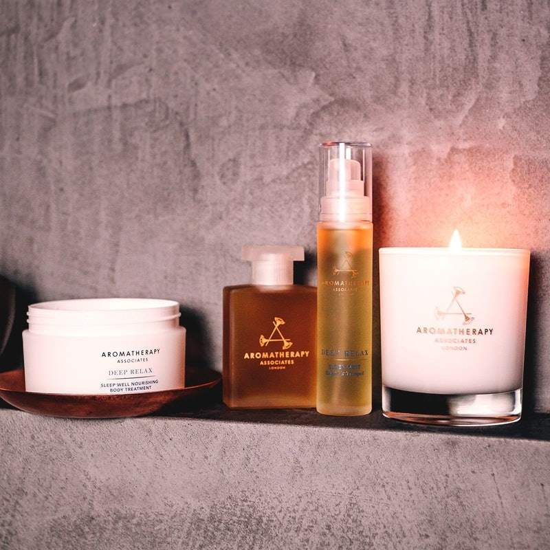 Relaxing products for your bath include Aromatherapy Associates' Deep Relax Bath and Shower Oil