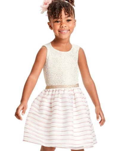 Toddler Girls Metallic Striped Jacquard Knit To Woven Dress