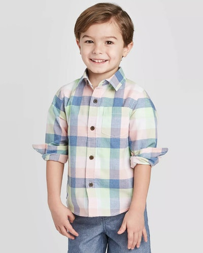 Cat & Jack Toddler Boys' Long Sleeve Woven Plaid Button-Down Shirt in Green/Pink