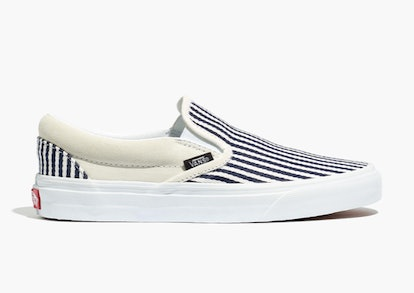 Vans® Unisex Classic Slip-On Sneakers in Railroad Stripes
