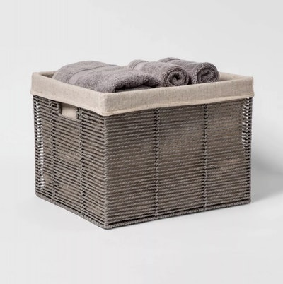 "Threshold Twisted Paper Rope Large Milk Crate Gray 11""x13"""