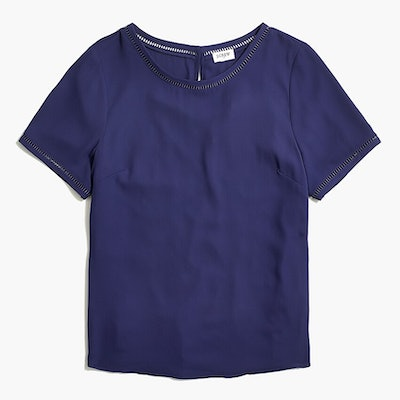 Short-sleeve top with ladder trim