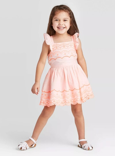 Cat & Jack Toddler Girls' Tank Top Woven Eyelet Dress in Pink