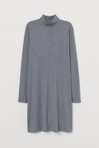 H&M Ribbed Mock-Turtleneck Dress