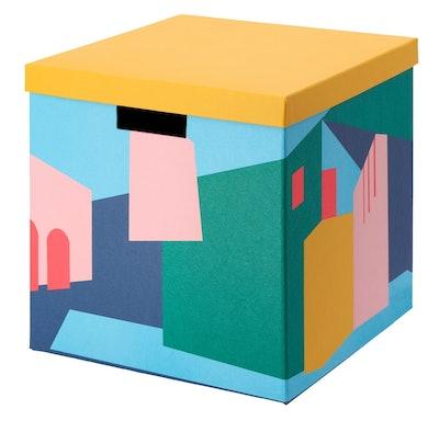 """TJENA Storage Box With Lid, Yellow, 11 ¾x11 ¾x11 ¾ """""""