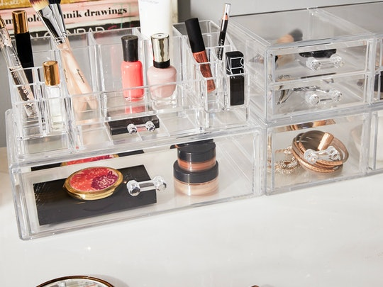 Acrylic containers are perfect for organizing makeup, like this one from Wayfair.