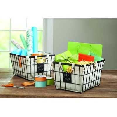 Better Homes & Gardens Small Wire Basket with Chalkboard, 2 Pack (Small)