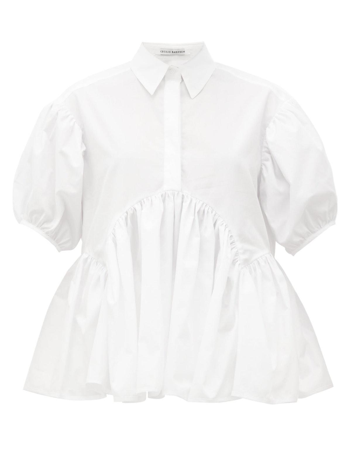 Ellie Puff-Sleeve Cotton-Poplin Blouse
