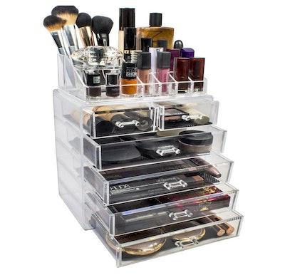 2-Piece 6-Drawer Vanity Organizer in Clear