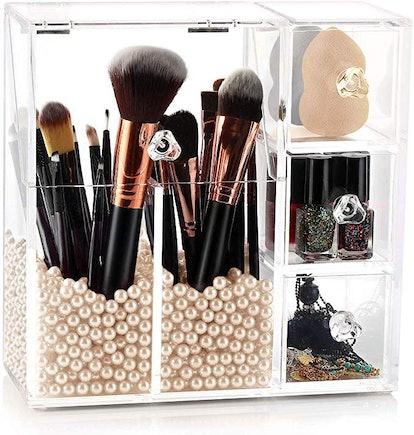 Acrylic Makeup Organizer With Makeup Brush Holder