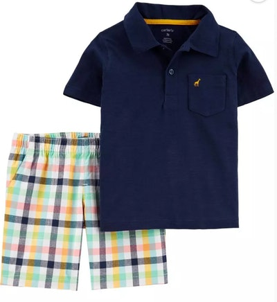 2-Piece Slub Polo & Plaid Short Set
