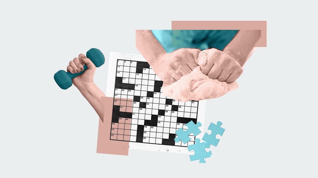 A collage of a crossword puzzle, a woman kneading dough, and working out, all activities with anxiety & depression benefits you can do at home