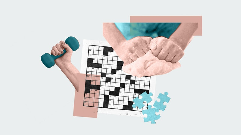 A collage of a crossword puzzle, a woman kneading dough, and working out, all activities with anxiet...