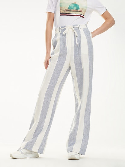 Linen Stripe Wide-Leg Trouser