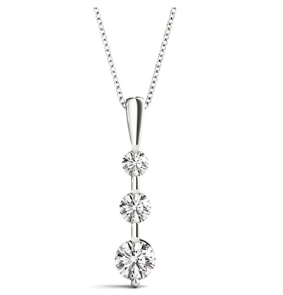 0.24 Ct 3 Stone Diamond Pendant Necklace with Round Diamonds Prong Set on Sterling Silver in, Yellow and Rose Silver Shades 1/4 ctw