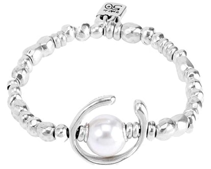 Bracelet in metal mix coated in 15 micro silver with pearl.