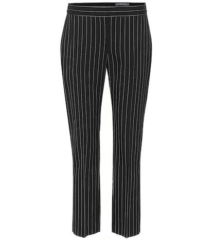 Pinstriped Wool Blend Pants