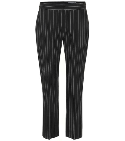 Pinstriped Wool Blend Pants
