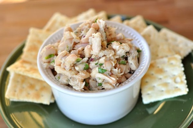 White bean and tuna salad is one recipe you can make from pantry staples that your kids will actually eat.