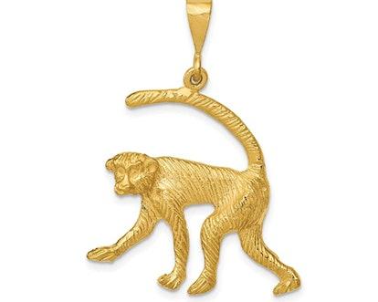 14k Yellow Gold Monkey Charm Pendant
