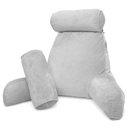 Silver Floretta Velvet Back Rest Pillow