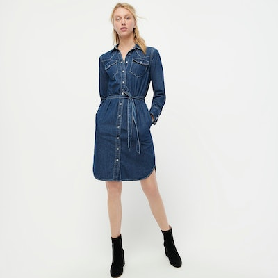 J.Crew Denim Shirtdress with Tie Belt