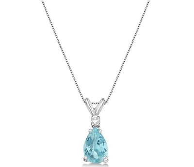 Genuine Pear Aquamarine and Diamond Solitaire Pendant Necklace 14k White Gold (0.75ct)