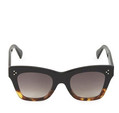 50 MM Square Cateye Sunglasses Tortoise