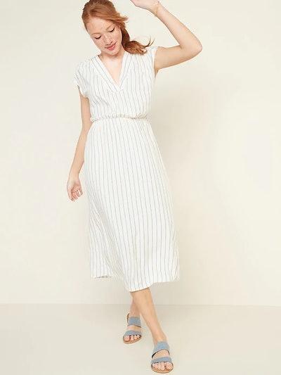 Waist-Defined Striped V-Neck Midi Dress for Women