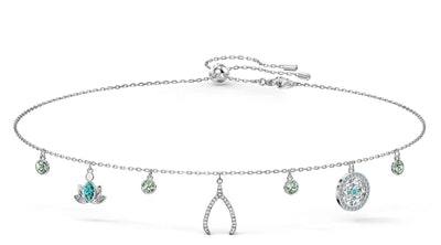 Women's Symbolic Charm Necklace, Light multi-colored, Rhodium plated
