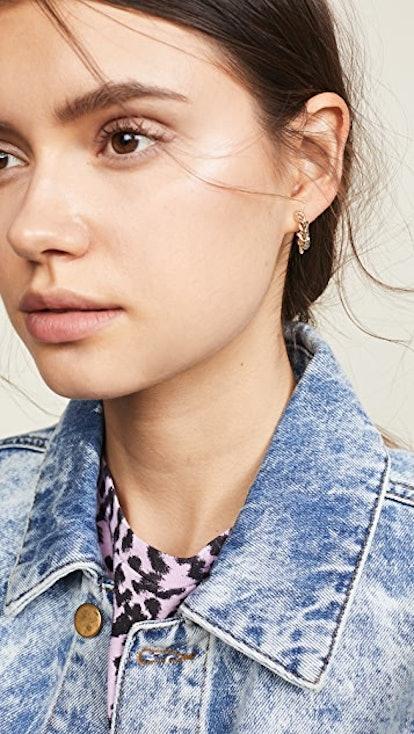 Women's 14k Gold Chain Hoop Earrings
