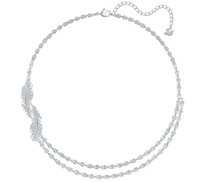 Crystal Nice Feather Collar Necklace, Rhodium-Plated