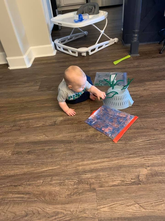 Sensory play is one way kids can entertain themselves during quarantine.