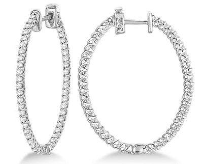 14k Gold Lucida Oval-Shaped Diamond Hoop Earrings (2.00ct)