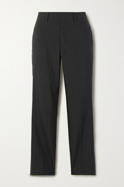 Pinstriped Twill Tapered Pants