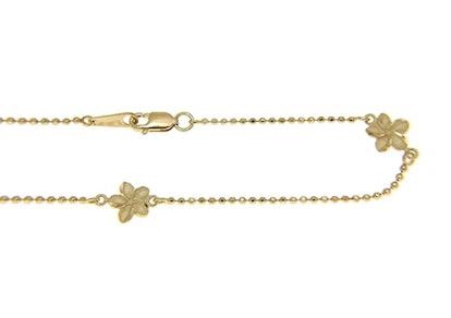 "14k solid yellow gold 2 sided Hawaiian plumeria diamond cut bead chain anklet 9"""