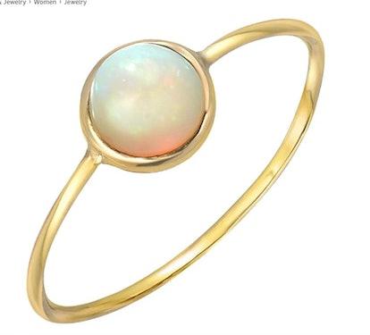 14K Yellow Gold Opal Fireburst Ring