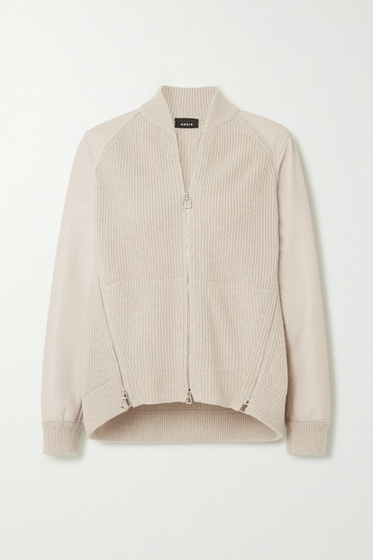 Ribbed Cashmere And Leather Cardigan